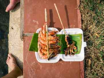 Skewers from Crab Market for dinner, Kep, Cambodia (2017-04-29)
