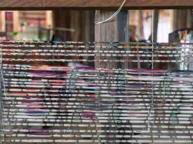 Inle Lake boat tour: Painted silk for weaving, Myanmar (2017-10)