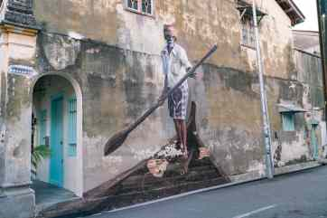 Penang Street Art: Indian Boatman (by Julia Volchkova) - George Town, Penang, Malaysia