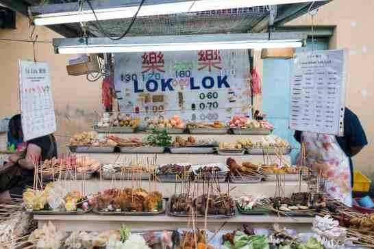 Penang street food: Lok lok skewer hawker on Chulia Street, George Town, Malaysia - 20171216-DSC02865