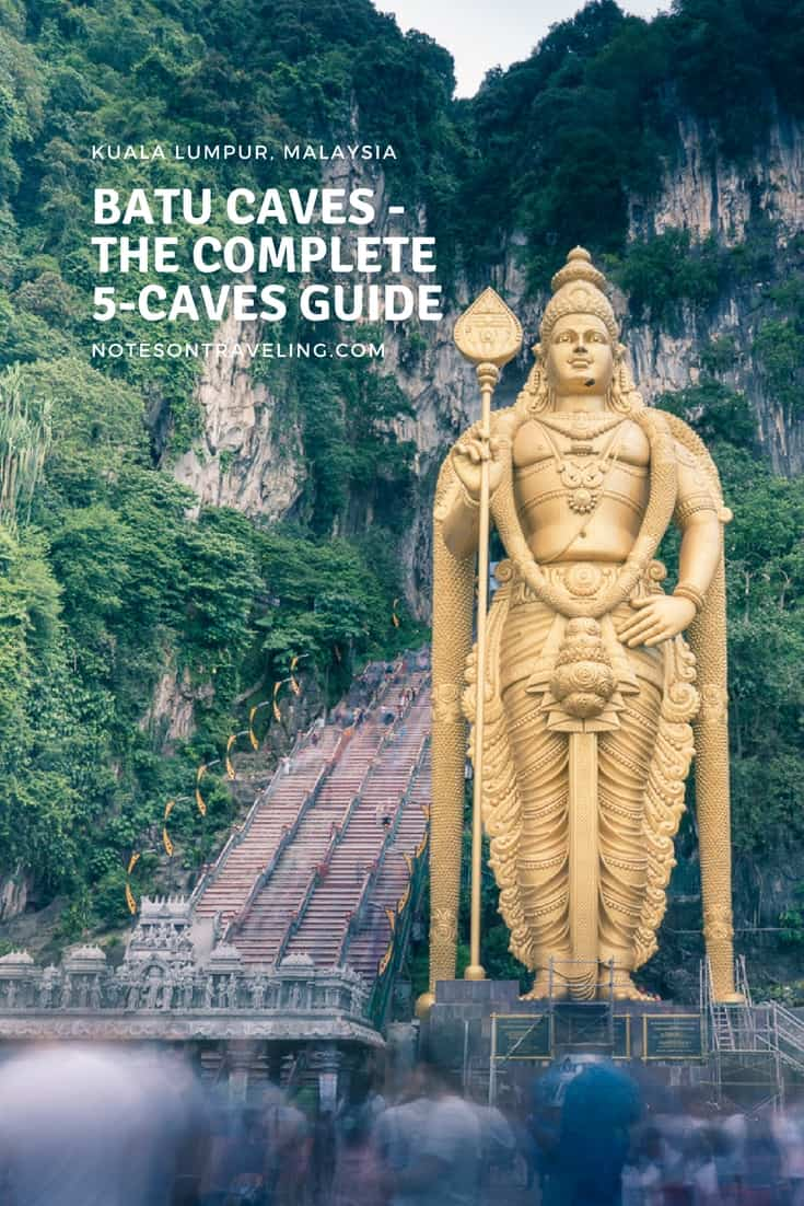 Batu Caves is one of the most iconic sights in Malaysia's capital Kuala Lumpur. This guide gives you all the info you need on all five Batu Caves. Learn about Hinduism, enjoy culture, and go on the hunt for rare insects in Dark Cave. #malaysiaguides #kualalumpur #destinationguides
