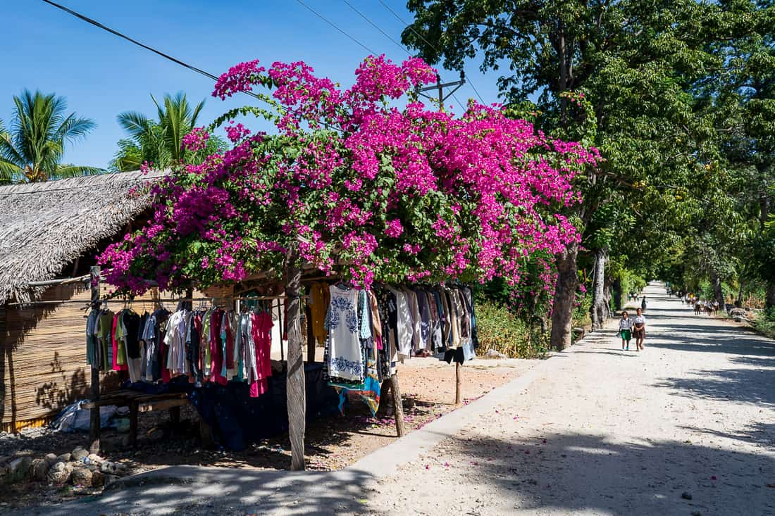 Selling 2nd hand clothes on the Beloi - Vila road, Atauro, East Timor