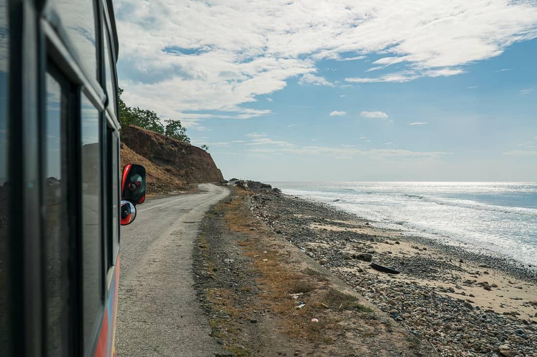 Bus on the road along the beach to Baucau, East Timor