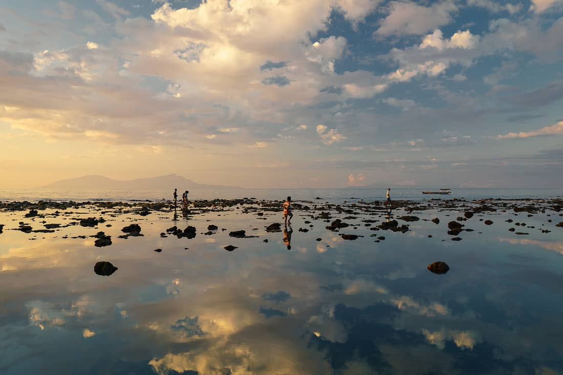 Super low tide in Dili at sunset, East Timor
