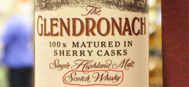 etiqueta de whisky Glendronach