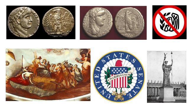 Caesar's preditor legion was his most trusted. Nero also had an eagle with grain. Red Liberty cap shown on Young America in the 1865 fresco on the ceiling of the Capitol rotunda as he turns over to Ceres the mastery of a reaper. 1885 liberty cap ended up on the seal of the Senate. 1893 liberty cap ended up on a Roman spear.