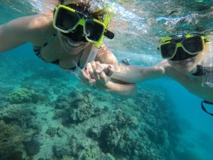 Americans snorkeling at the Great Barrier Reef