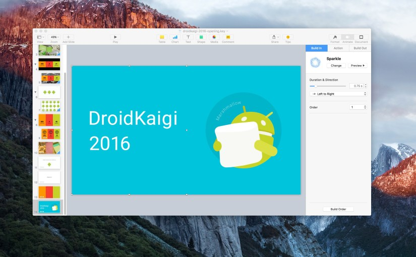 KeynoteでDroidKaigi 2016のオープニング映像を作った話