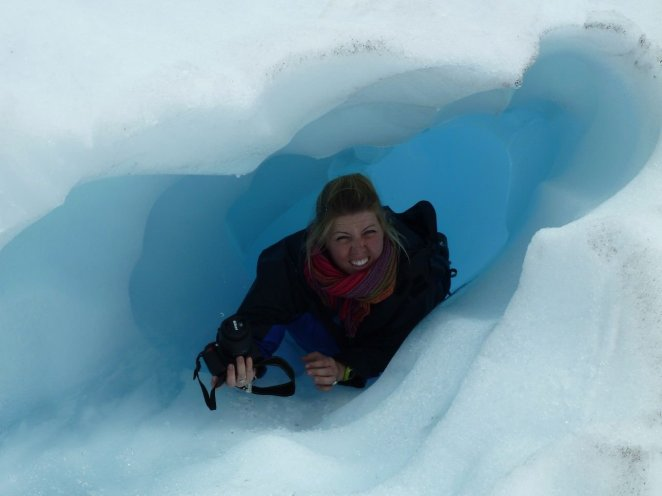 Eva in an ice tunnel