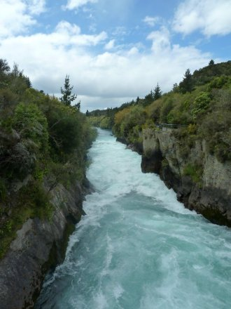The Huka falls on the Waikato River