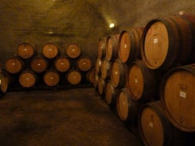 Inside Gibbston Valley wine cave