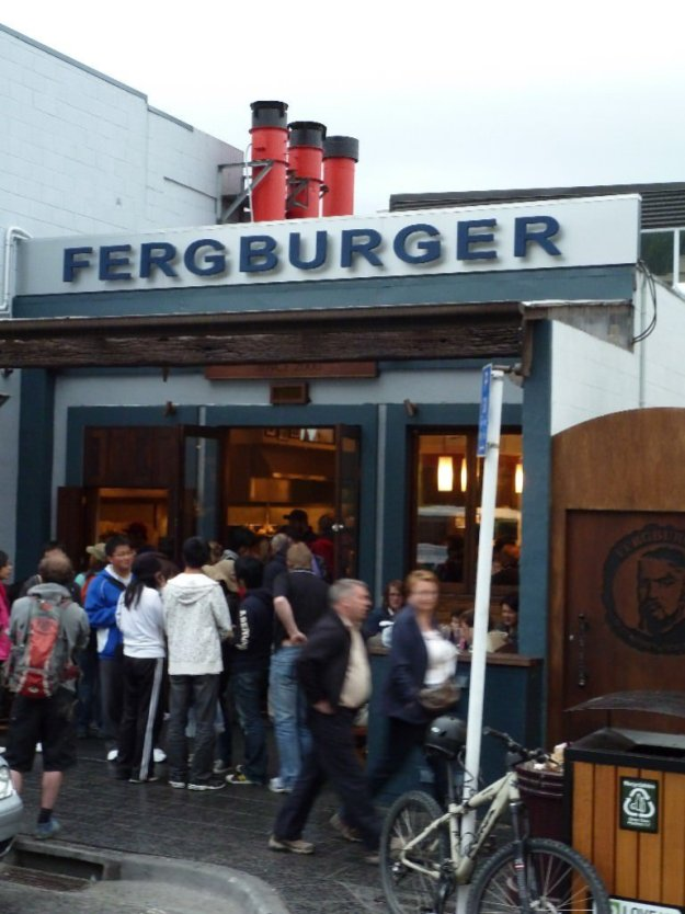 Queue outside the door for Fergburger in Queenstown