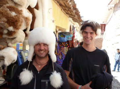 David and Tim trying on hats made from baby alpaca (very soft indeed)