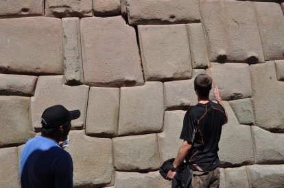 Tim trying to point out the tail of a Puma which can be seen in this Inca wall