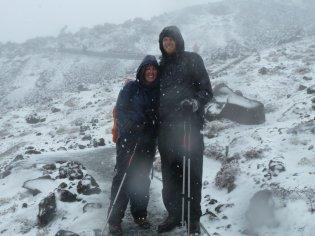 Tongariro Alpine Crossing blizzard but still happy