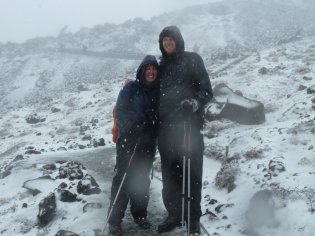 Tongariro Alpine Crossing blizzard but still happy