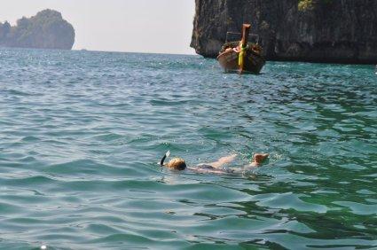 Eva snorkelling in the lagoons