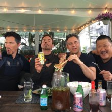 Benedict Cumberbatch, Robert Downey Jr., Mark Ruffalo and BD Wong (courtesy of RDJ)