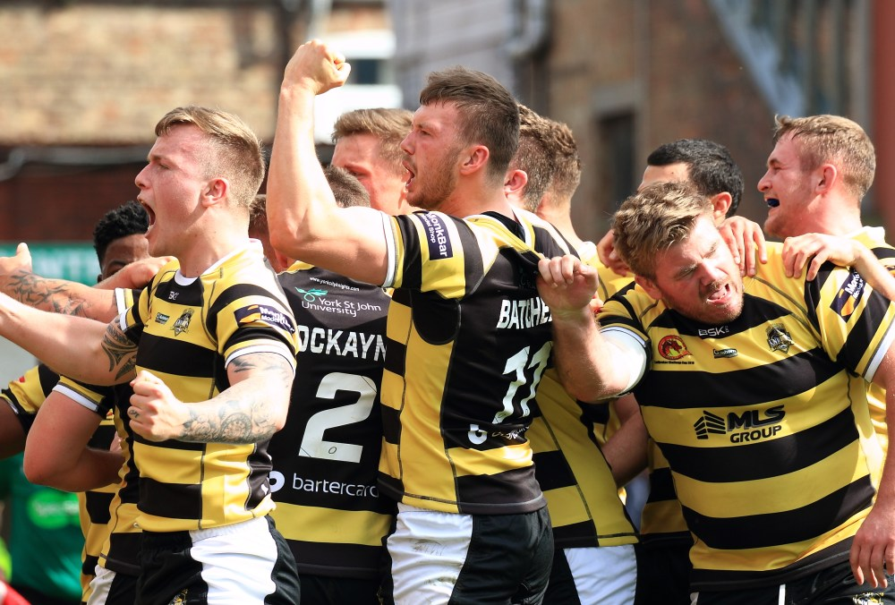 York City Knights celebrate a try against Catalans Dragons