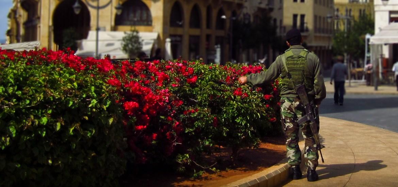 lebano, beirut soldier flowers