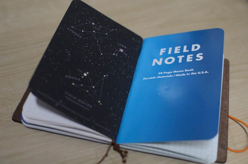 Midori Travelers Notebook - Brown - Field Notes - Refill 3 - Cold Horizon + Night Sky Back