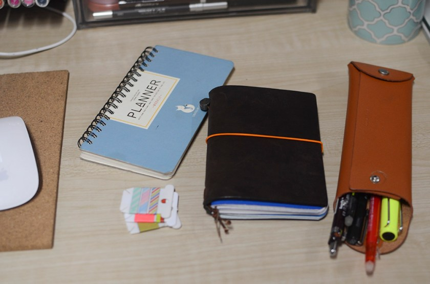 Midori Travelers Notebook - Brown - Field Notes - Setup