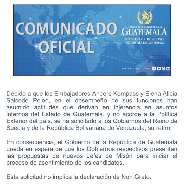 Por injerencia Gobierno de Guatemala pide retiro de Embajadores de Suecia y Venezuela.