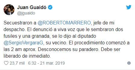 Detienen y acusan de terrorismo a Roberto Marrero, mano derecha de Juan Guaidó
