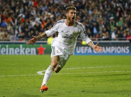 Real Madrid's Ramos celebrates after scoring a goal against Atletico Madrid during their Champions League final soccer match at Luz stadium in Lisbon