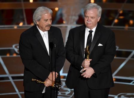 Alan Robert Murray, izquierda, y Bub Asman ganadores por mejor edición de sonido
