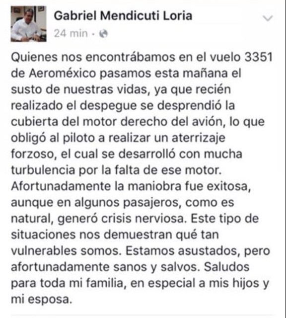El relato de Mendicuti sobre el incidente en avión de Aeroméxico.