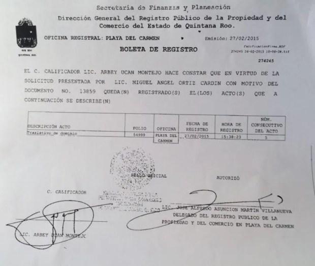 Documento que prueba la inscripción de la escritura del terreno a favor del diario Por Esto! en el Registro Público de la Propiedad en febrero del 2015.