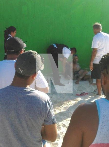 El herido en playa Tortugas.