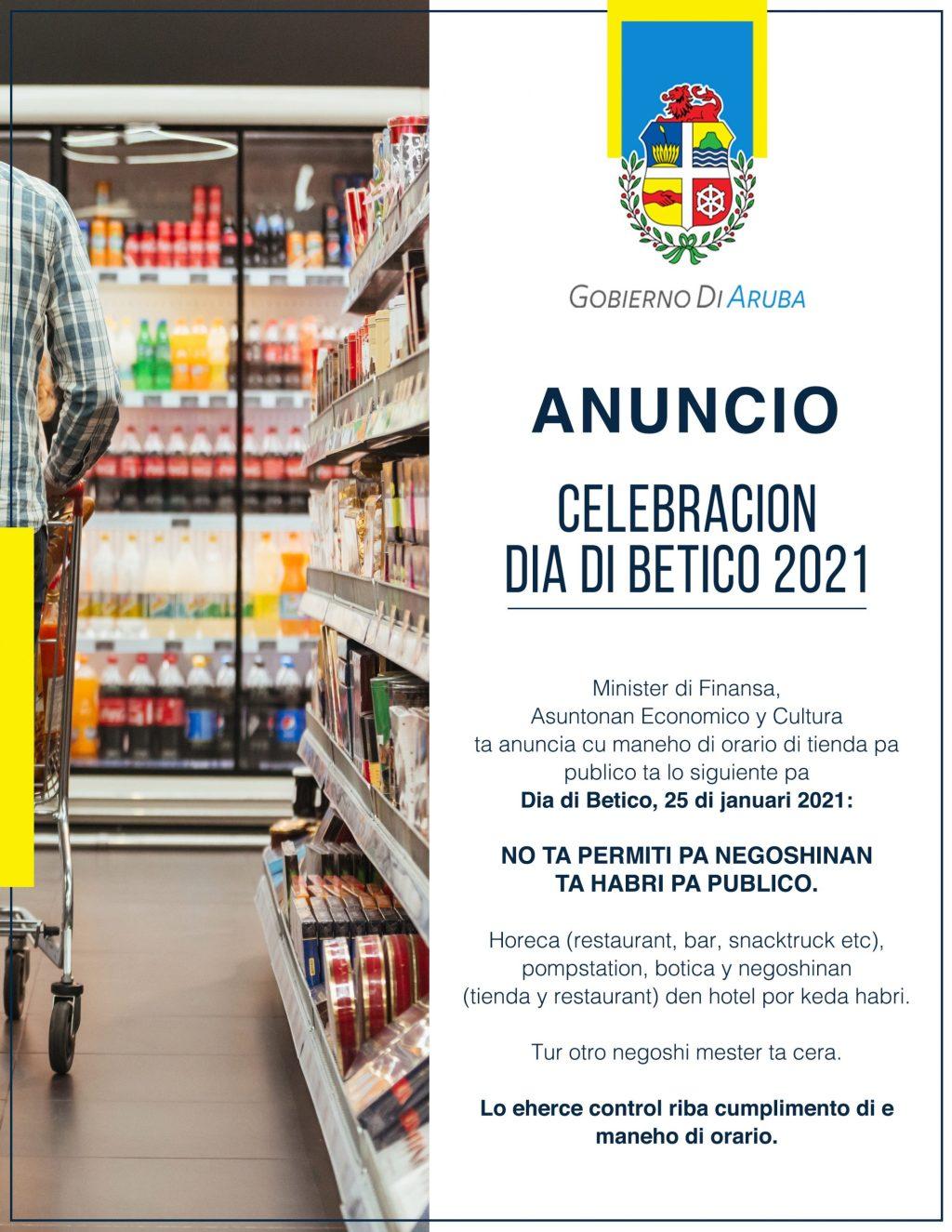 El comercio estará cerrado este 25 de enero en conexión al 'Día de Betico'