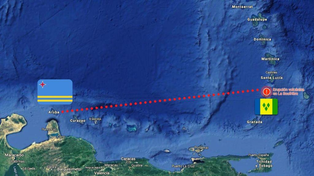 ¿La erupción volcánica en San Vicente afecta a Aruba?