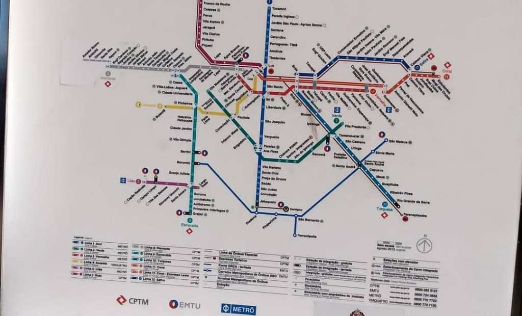 mapa do sistema metroferroviário