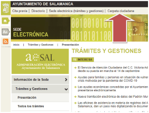 Imagen del acceso a través de la web municipal.