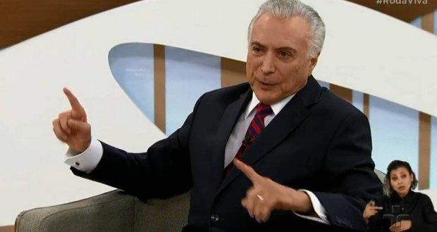 'Eu jamais apoiei ou fiz empenho pelo golpe', diz Temer em entrevista ao Roda Viva
