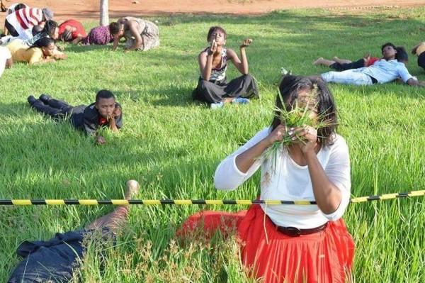 Área de ingestão de grama foi isolada para que fiéis comessem à vontade