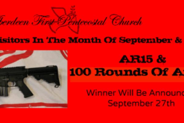 Imagem do anúncio do sorteio de arma na igreja