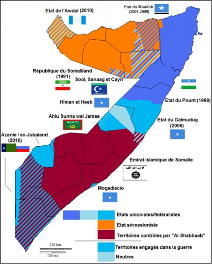 Mapa de la guerra en Somalia (Wikipedia)