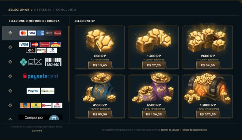 RP price in LoL