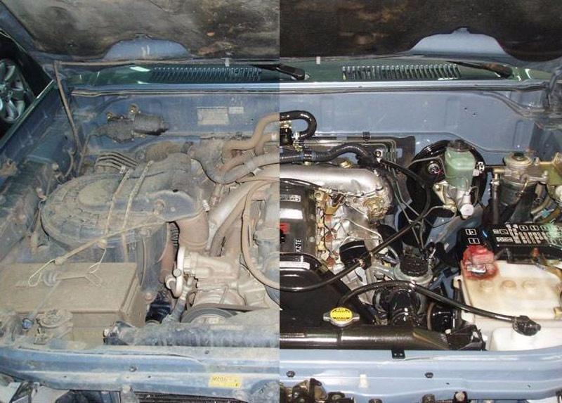 limpiar-motor-coche-desguace