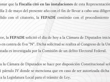 Fepade pide a diputados quitar fuero a Eva Cadena 2