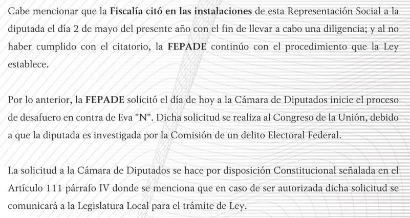 Fepade pide a diputados quitar fuero a Eva Cadena 9