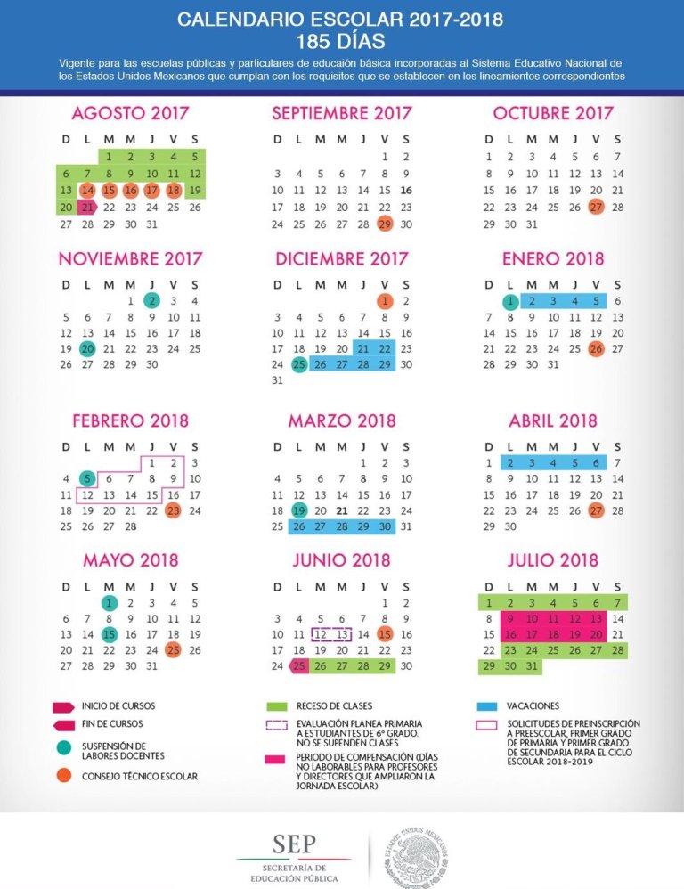 Conoce el Calendario Escolar 2017-2018 3