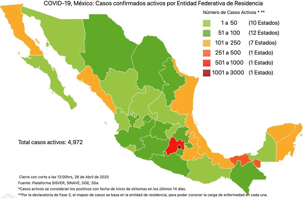 #COVID19 en México, casos activos, positivos, negativos, sospechosos, defunciones y tasa de incidencia por estado al 26 de abril 2020 3