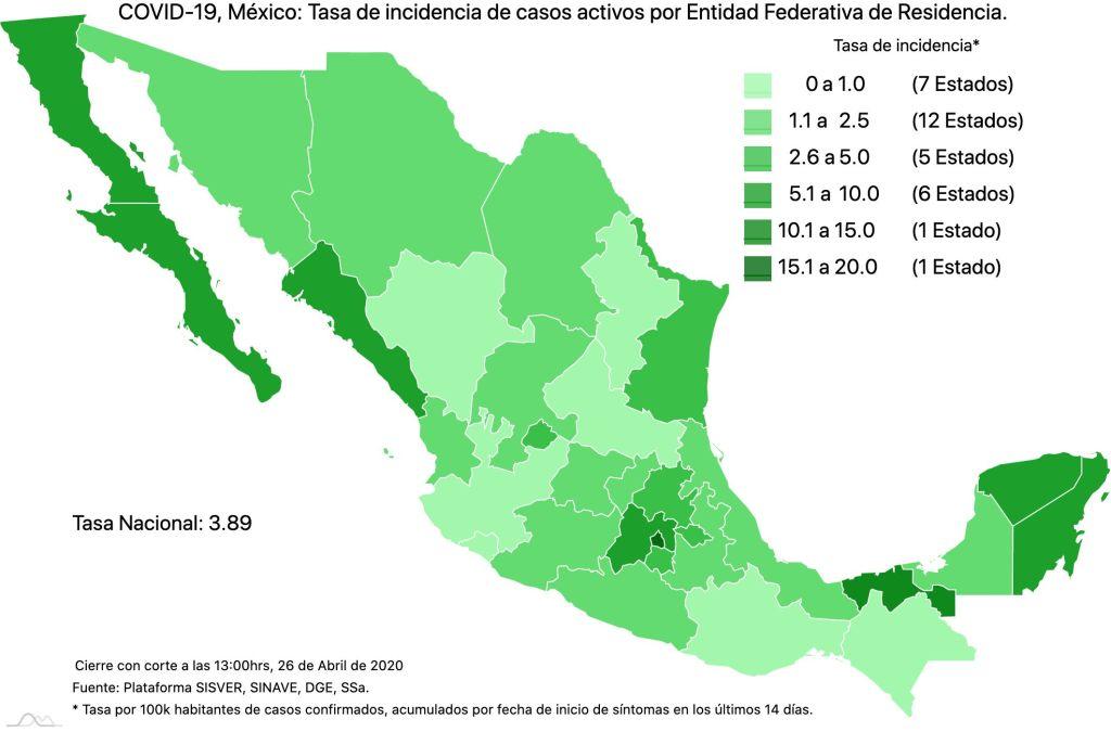 #COVID19 en México, casos activos, positivos, negativos, sospechosos, defunciones y tasa de incidencia por estado al 26 de abril 2020 4