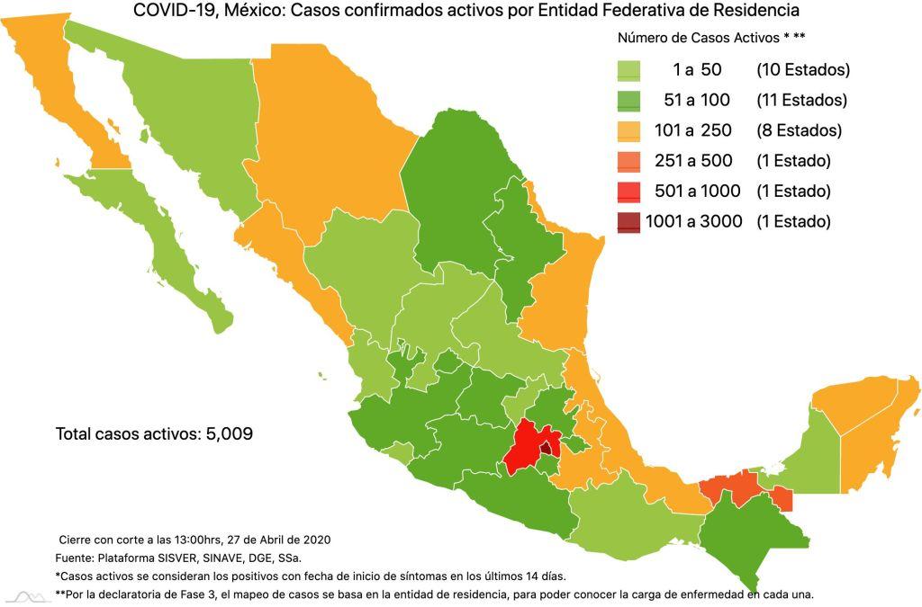 #COVID19 en México, casos activos, positivos, negativos, sospechosos, defunciones y tasa de incidencia por estado al 27 de abril 2020 3