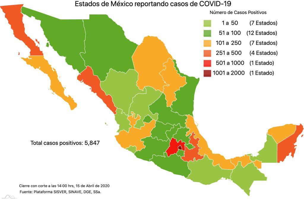 #COVID19 en México, casos positivos, negativos, sospechosos y defunciones por estado al 15 de abril 2020 2